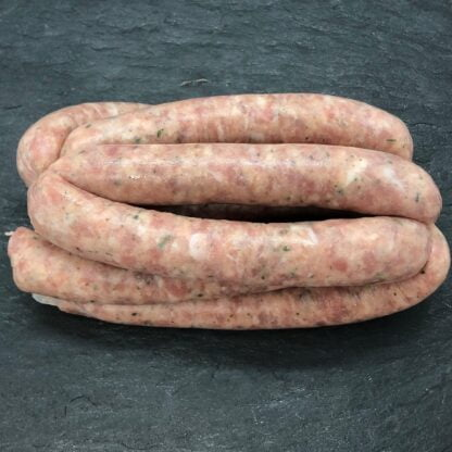 Trotters Lincolnshire Sausage on Black Slate