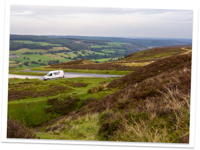 The Cooks Larder delivery van on the North York Moors